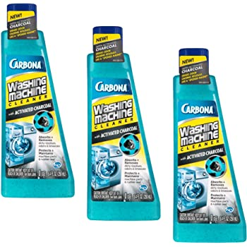 Carbona Washing Machine Cleaner with Activated Charcoal | Removes Odor-Causing Residues | Works in Standard & High Efficiency Washing Machines | 8.4 FL Oz, 3 Pack