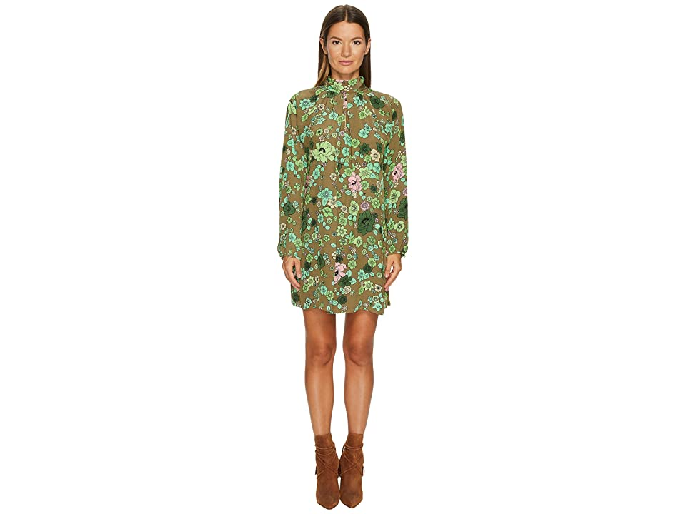 Boutique Moschino Crepe Shift Dress (Green Floral) Women