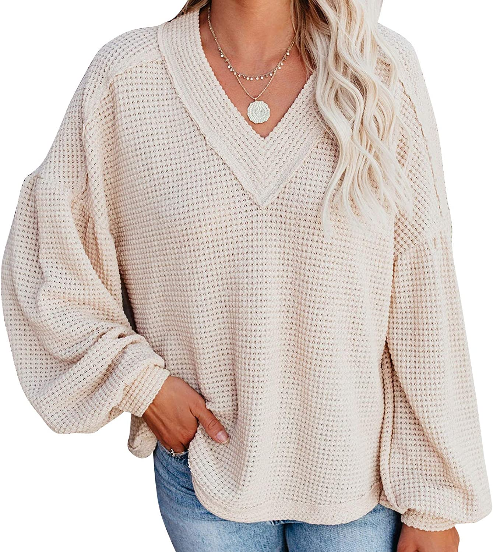 kayamiya Women's Casual V Neck Off Shoulder Long Sleeve Waffle Knit Tops Oversized Pullover Sweater