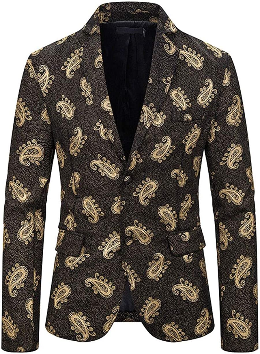 Men's Slim Fit Printed Suit Jacket Two Buttons Casual Blazer Peak Lapel Prom Party Coat Christmas Tuxedos Jacket