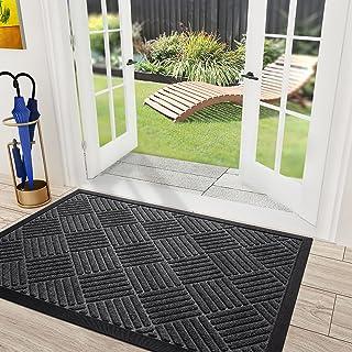 """DEXI Door Mat Outside Entry Outdoor Doormat Entryway Rug Welcome Floor Mats for Front Indoor Entrance 17""""x29"""",Dark Grey"""