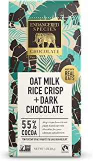 Endangered Species Chocolate Gorilla, Oat Milk & 55% Cocoa Chocolate Bar, Made With Oat Milk & Rice Crisps in Dark Chocola...