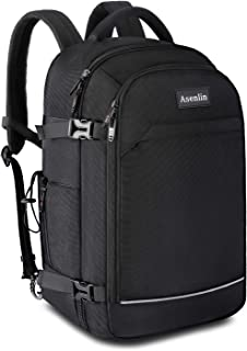 Asenlin 40L Travel Backpack 17.3 Inch Laptop Backpack Fit Flight Approved Luggage Carry On Travel Backpack Suitcase College Backpack for Men Women ,Hiking Overnight Hiking Business Backpack Black