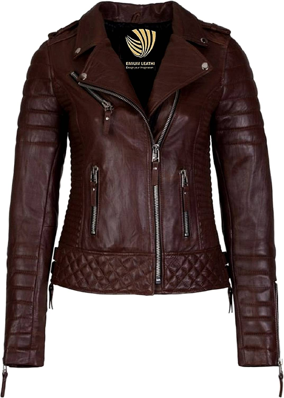 Glamdust Womens Pure 100% Lambskin Leather Solid Biker Leather Jacket