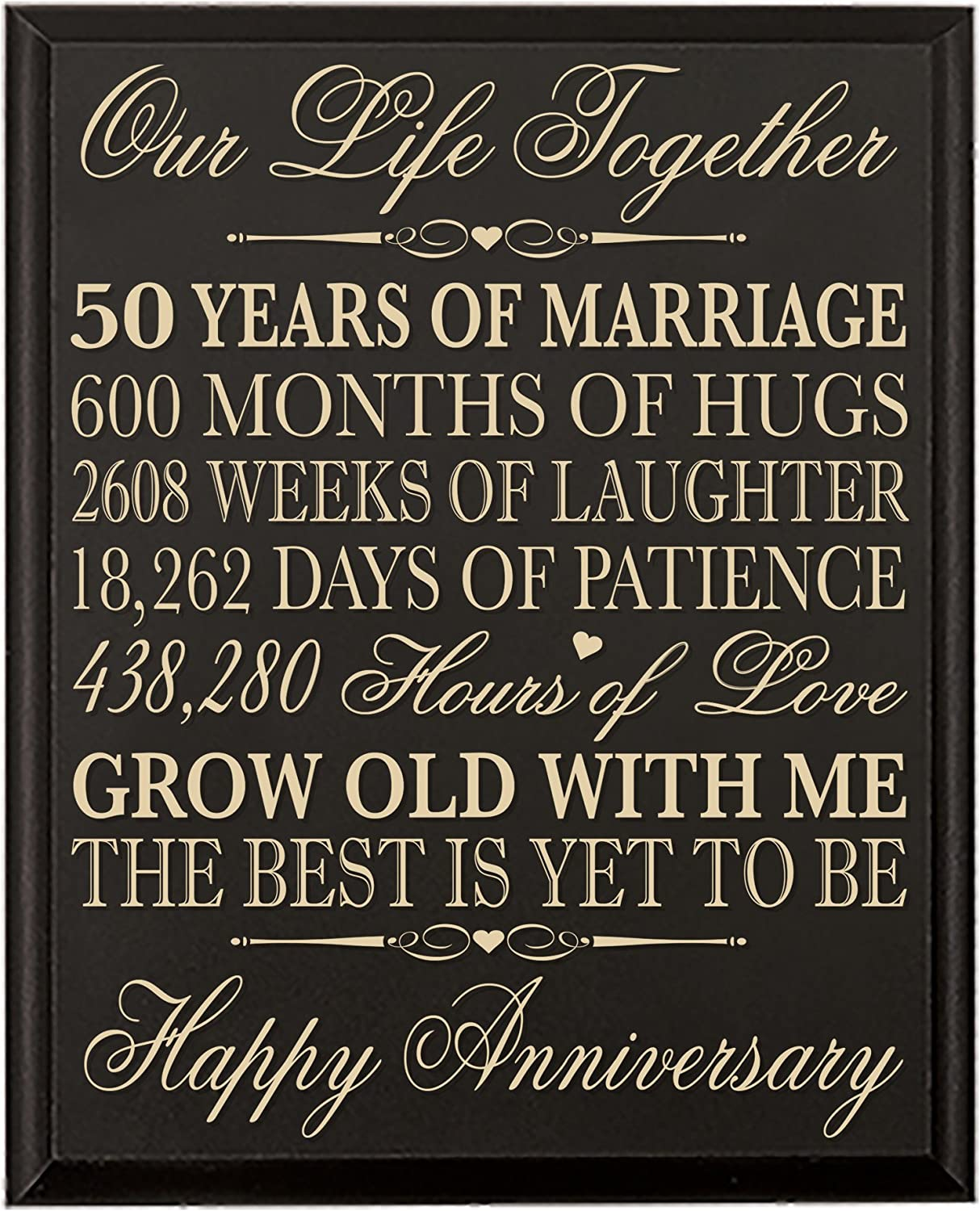LifeSong Milestones 50th Wedding Anniversary Wall Plaque Gifts for Couple, 50th for Her,50th Wedding for Him 12 W X 15  H Wall Plaque (Black)
