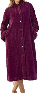 """Slenderella Ladies 52"""" Luxury 300GSM Velvet Fleece, Faux Fur Collar and Cuffs Button Up House Coat Dressing Gown Small Medium Large XL XXL"""