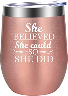 Inspirational Gifts for Women - She Believed She Could, so She Did - Inspiring, Encouragement, Congratulations Gift - Funny Christmas Gifts for Her, Friend, Daughter - LEADO Motivational Wine Tumbler
