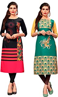 New Ethnic 4 You Women's American Crepe Straight Kurta (Combo Pack Of 2)