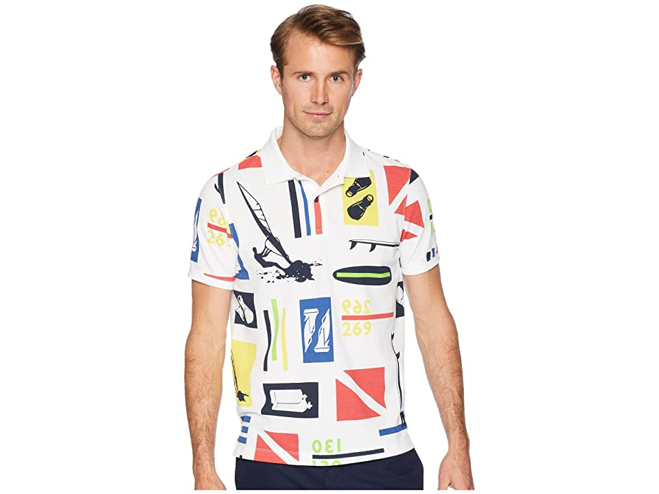 Nautica Short Sleeve Scuba Printed Polo (Bright White) Men