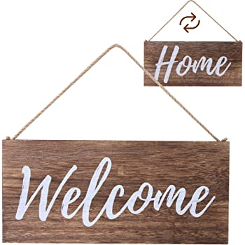 """ALBEN Hanging Wooden Welcome Sign - Reversible Message Home or Welcome - 12"""" x 6"""" Rectangular Front Door Decor - Rustic Natural Farmhouse Grain Wood (Brown)"""
