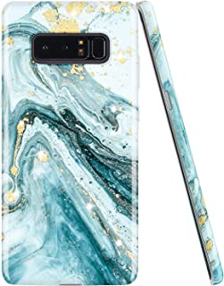 JIAXIUFEN Gold Sparkle Glitter Blue Marble Design Clear Bumper TPU Soft Rubber Silicone Cover Phone Case for Samsung Galaxy Note 8
