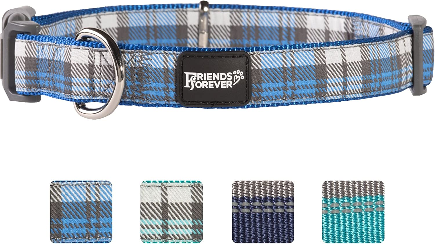 Friends Forever Plaid Dog Collar for Dogs, Fashion Woven Checkers Pattern, Cute Puppy Collar, bluee Medium 1420