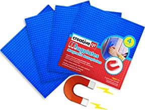 Creative QT MagPlates - Magnetic Building Brick Plates - Compatible with All Major Brands - 4 Pack - Blue - 10 inch x 10 inch