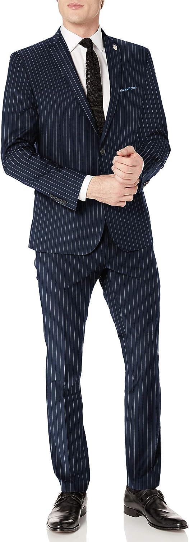 Nick Graham Men's Slim fit Stretch Finished Bottom Suit, Navy Stripe, 42S