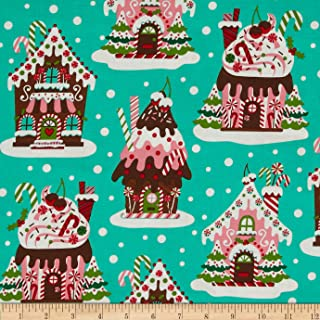 Michael Miller 0290455 Holiday Gingerbread Houses Aqua Fabric by The Yard,