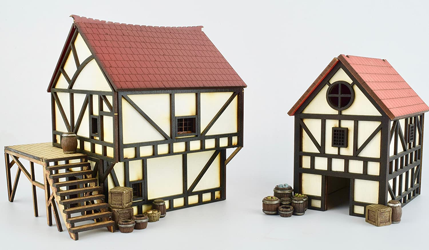 WWG Medieval Cottage and Townhouse Set with Resin Accessories – 28mm Heroic Fantasy Wargaming Terrain Warhammer Age of Sigmar Confrontation
