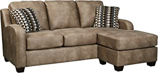 Ashley Alturo Queen Faux Leather Chaise Sleeper Sofa in Dune