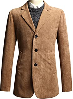 Franco American Novelty Company Mens Luxury Modern Slim Fit Corduroy Formal Basic Blazer Jacket Jumper Top
