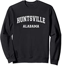 Huntsville Alabama College-style Font, Distressed, White Sweatshirt