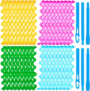 Duufin 36 Pcs Wave Hair Curler Rollers 50 Centimeters Heatless Water Ripple Curlers Magic Hair Rollers DIY Hair Style Tools Set for Women and Girls (Bonus: 2 Pcs Hooks)