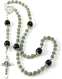 Silver Inches Saint Benedict Crucifix and Rosary Center Prayer Beads Labradorite Gemstone Catholic Rosary Blessed with Anointing Oil