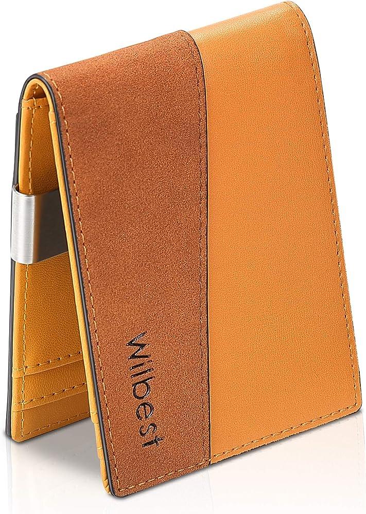 Wilbest, portafoglio da uomo slim, porta carte di credito, con blocco rfid, in pelle sintetica