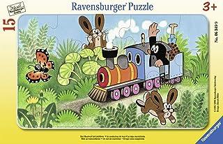 Ravensburger - Puzzle cadre - 15 pièces : La taupe, Conducteur de locomotive