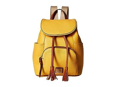 Dooney & Bourke Pebble Medium Murphy Backpack (Dandelion/Tan Trim) Backpack Bags