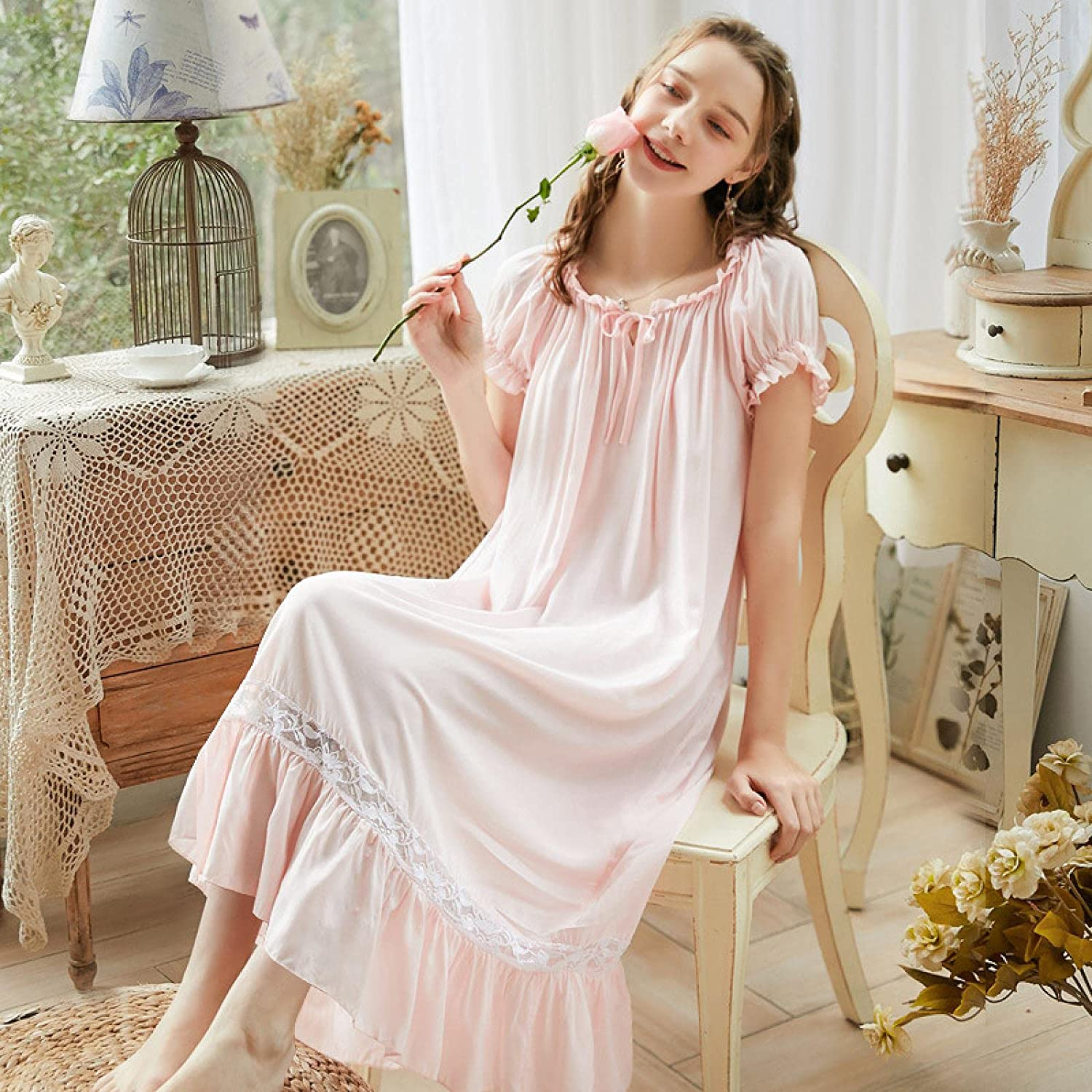 STJDM Save money Nightgown Vintage White Lace High material Women Nighty Lon Cotton Shirt