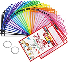 """SUNEE Dry Erase Pockets 30 Packs - Reusable & Oversized 10"""" x 14"""" - Clear Durable Plastic Sleeves with 2 Book Rings for Cl..."""