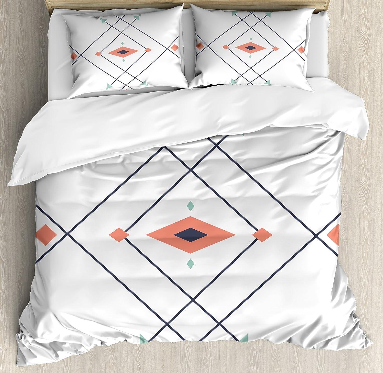 Lunarable Aztec Duvet Cover Set King Size, Minimalist Abstract Latin American Inspired Design Diamonds Arrows Print, Decorative 3 Piece Bedding Set 2 Pillow Shams, Turquoise Coral