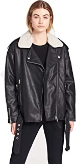 Women's Faux Leather Oversized Sherpa Lined Motorcycle Jacket