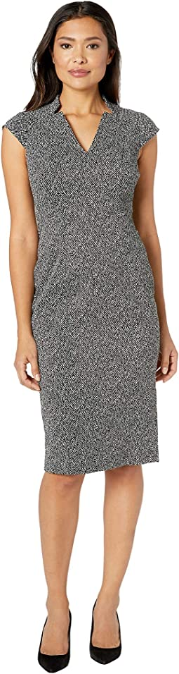 Herringbone Jacquard Novelty Sheath Dress with Cap Sleeve
