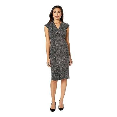 Maggy London Herringbone Jacquard Novelty Sheath Dress with Cap Sleeve (Black/White) Women
