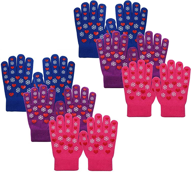 EvridWear Boys Girls Max Max 72% OFF 50% OFF Magic Stretch Assort Gripper 6 Gloves Pairs