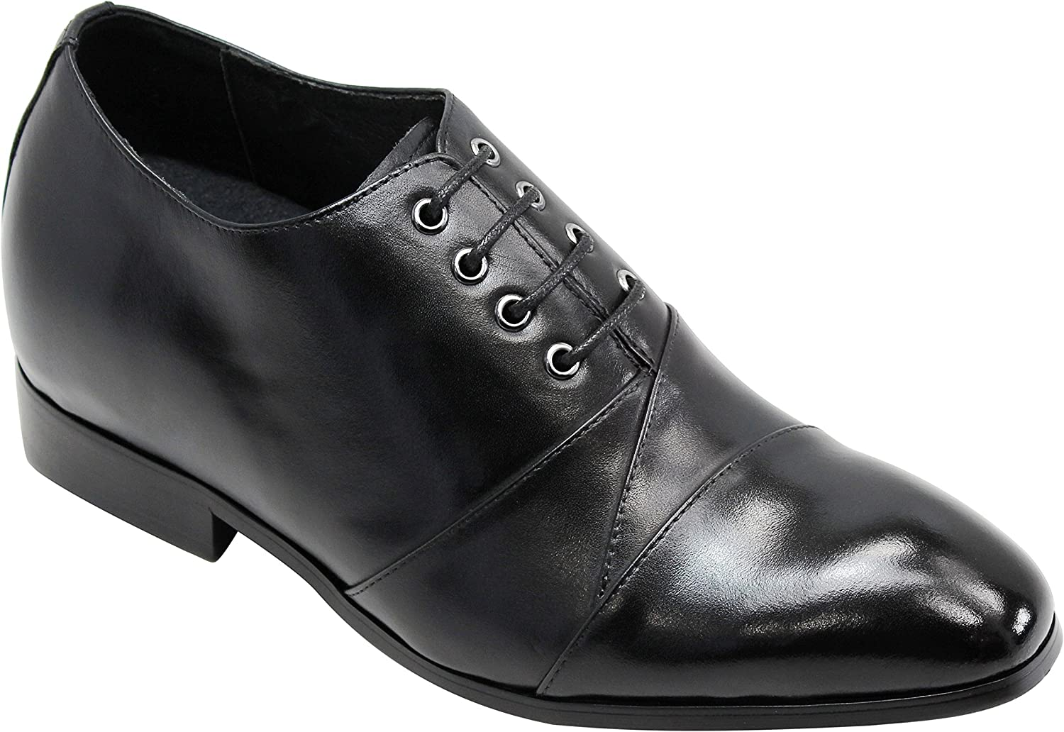 Calden Men's Invisible Height Increasing Elevator Shoes - Black Premium Leather Super Lightweight Lace-up Faux Leather Bottom Formal Oxfords - 2.6 Inches Taller - K323041