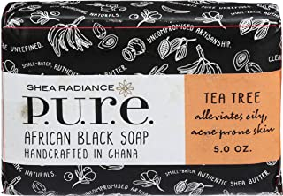Shea Radiance, African Black Soap Bar Tea Tree, 5 Ounce