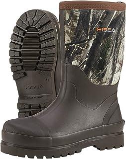 HISEA Men's Work Boots Mid Calf Rain Boots Muck Mud Boots Insulated Rubber Neoprene Boots Outdoor
