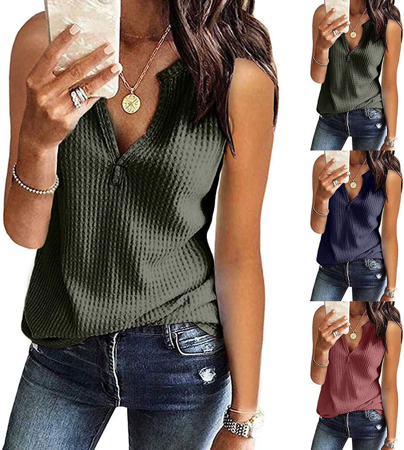 Tank Tops for Women Fashion,Womens Henley V Neck Tank Tops Sleeveless Lace Button Down Blouse Waffle Knit Slim-Fit Top