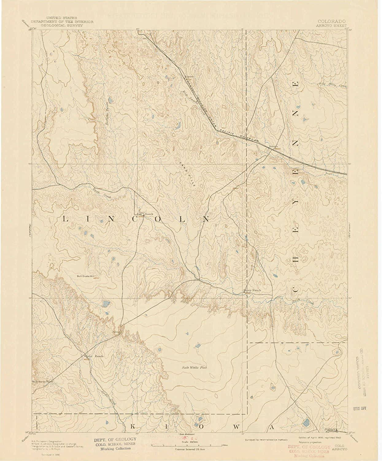Arroyo CO topo map, 1 125000 Scale, 30 X 30 Minute, Historical, 1893, Updated 1940, 20 x 16.6 in
