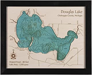 Tims Ford Lake - Franklin County - TN - 2D Map 11 x 14 in (Black Frame with Glass) - Laser Carved Wood Nautical Chart and Topographic Depth map.