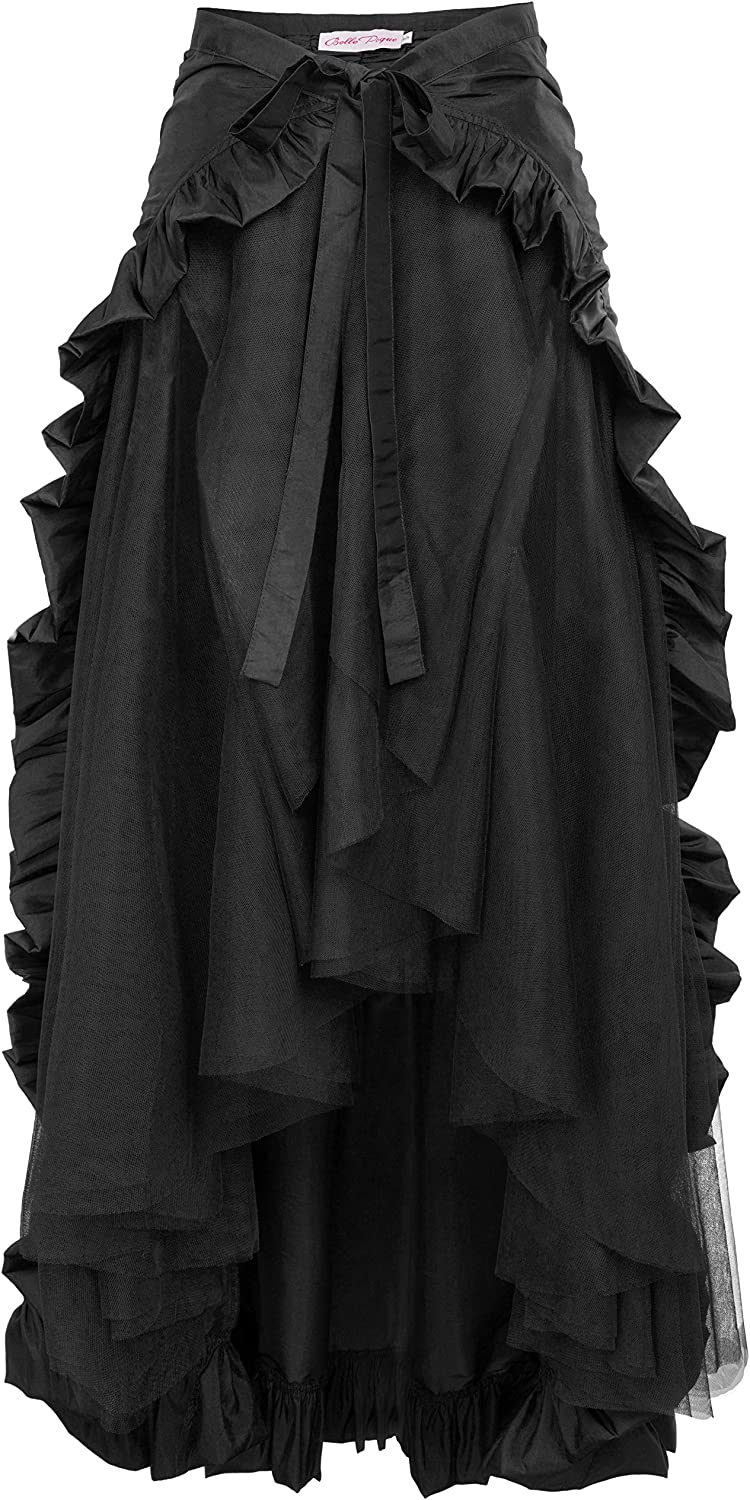 Steampunk Plus Size Clothing & Costumes Ladies Gothic Steampunk Clothing Skirt Lace Up Retro Victorian Punk Cincher Vintage Long Ruffle Skirt  AT vintagedancer.com