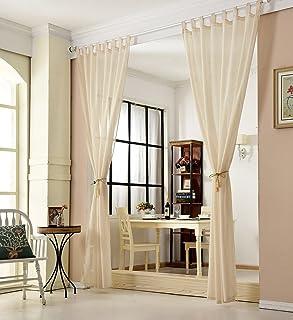 WOLTU zestaw 2 przezroczystych zasłon, ze szlufkami, o wyglądzie lnu, podwójne opakowanie, woal, szal dekoracyjny do salon...