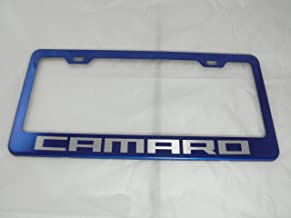 None Chevy Camaro Blue Stainless Steel License Plate Frame