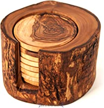 SALE! Olive Wood Rustic Coaster Set of 8 and Holder, Wooden Handmade Coasters