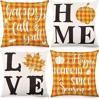 CDWERD Fall Pillow Cover 18 x 18 Inches Buffalo Plaid Love Home Autumn Farmhouse Throw Pillowcase Thanksgiving Cushion Case for Sofa Couch Set of 4