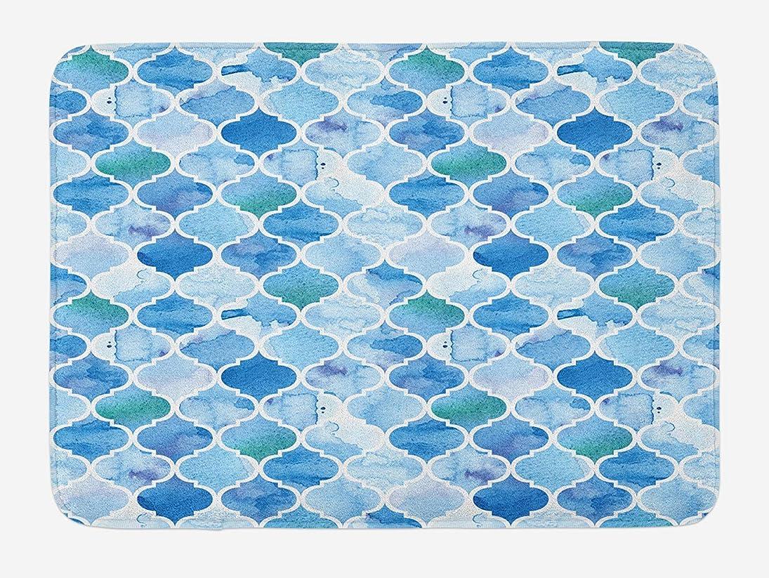 無果てしない尊厳Amxxy 水彩絵の具レトロスタイルアートオリエンタルスタイルモザイクパターン滑り止めバスマットドアマットフランネル素材屋外ドア装飾ルームバスルームに適したリビングルーム寝室キッチン