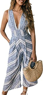 ECOWISH Womens Jumpsuits Casual Button Deep V Neck Sleeveless High Waist Wide Leg Jumpsuit Rompers with Pockets