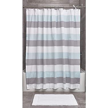 iDesign Wide Stripe Fabric Bathroom Shower Curtain, 72  x 72 , Aqua, Gray and White