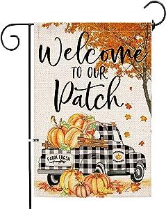 pinata Fall Garden Flag 12x18, Autumn Leaves Pumkin Flags Double Sided, Buffalo Check Truck Outdoor Decor Seasonal Burlap Banners Yard Decoration